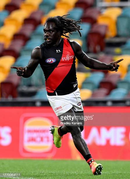 Anthony McDonald-Tipungwuti of Essendon celebrates kicking a goal during the round 15 AFL match between the West Coast Eagles and the Essendon...