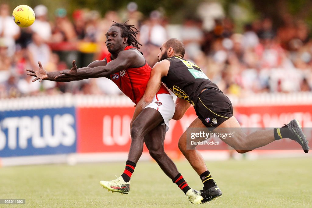 Anthony McDonald-Tipungwuti of the Bombers and Bachar Houli of the Tigers contest the ball during the JLT Community Series AFL match between the Essendon Bombers and the Richmond Tigers at Norm Minns Oval on February 24, 2018 in Wangaratta, Australia.