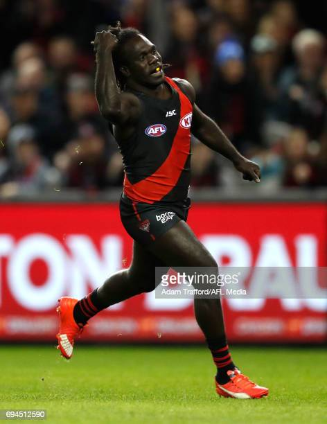 Anthony McDonaldTipungwuti of the Bombers celebrates a goal during the 2017 AFL round 12 match between the Essendon Bombers and the Port Adelaide...