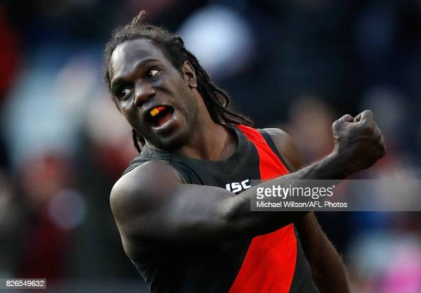 Anthony McDonald-Tipungwuti of the Bombers celebrates a goal during the 2017 AFL round 20 match between the Essendon Bombers and the Carlton Blues at...