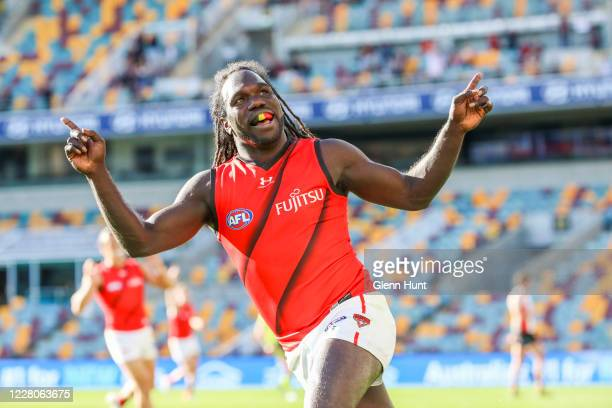 Anthony McDonald-Tipungwuti of the Bombers celebrates after scoring a goal during the round 12 AFL match between the St Kilda Saints and the Essendon...