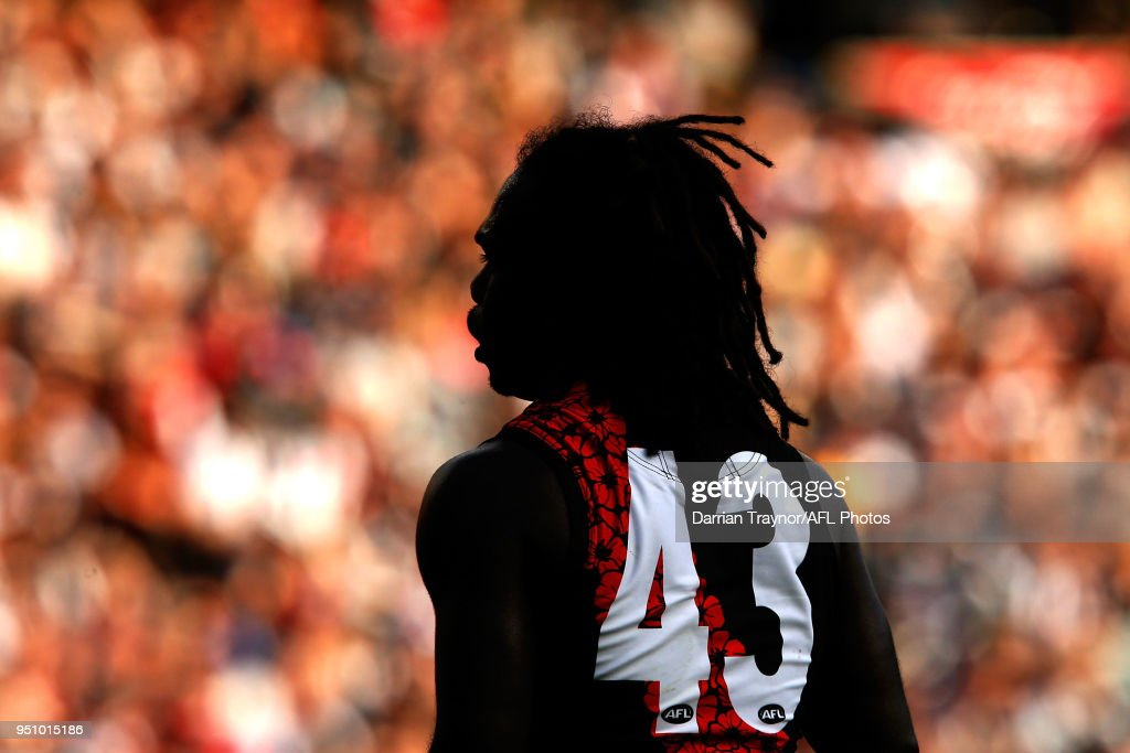 Anthony McDonald-Tipungwuti of the Bombers looks on during the round five AFL match between the Collingwood Magpies and the Essendon Bombvers at Melbourne Cricket Ground on April 25, 2018 in Melbourne, Australia.