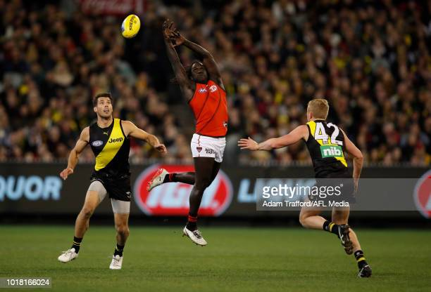 Anthony McDonaldTipungwuti of the Bombers reaches for the ball over Alex Rance and Ryan Garthwaite of the Tigers during the 2018 AFL round 22 match...