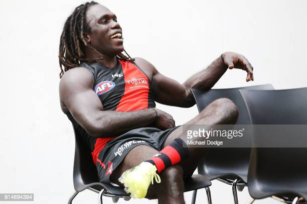 Anthony McDonaldTipungwuti reacts during an Essendon Bombers team photo session at The Hangar on February 6 2018 in Melbourne Australia