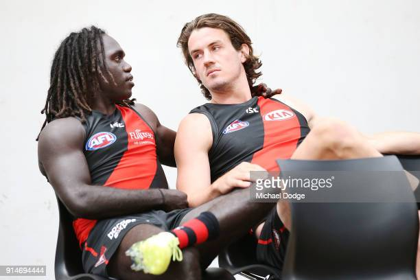 Anthony McDonaldTipungwuti sits next to Michael Hartley during an Essendon Bombers team photo session at The Hangar on February 6 2018 in Melbourne...