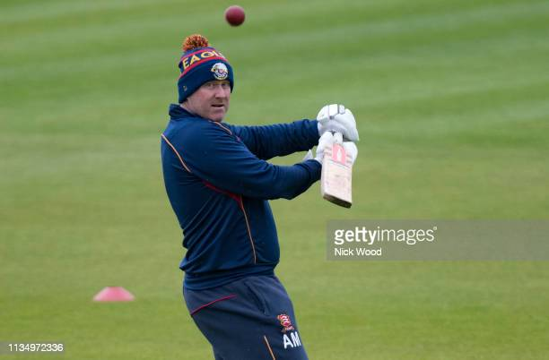 Anthony McGrath head coach of Essex helps his team warmup prior to the Specsavers County Championship match between Hampshire and Essex on April 5...