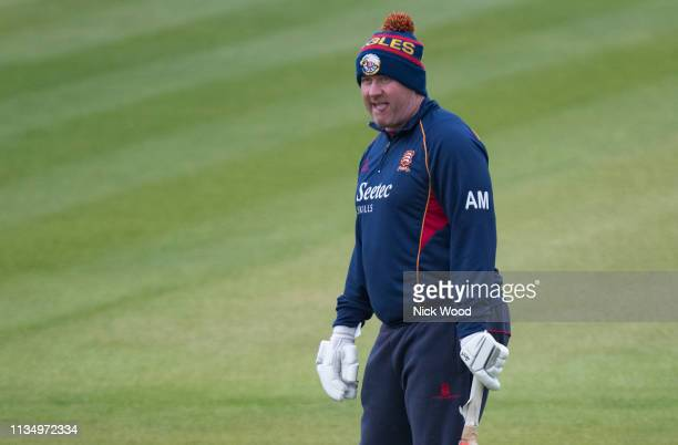 Anthony McGrath head coach of Essex watches his team warmup prior to the Specsavers County Championship match between Hampshire and Essex on April 5...