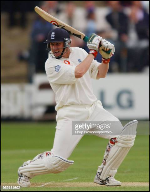 Anthony McGrath of England hits a boundary during his innings of 69 runs on debut in the 1st Test match between England and Zimbabwe at Lord's...