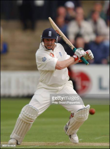 Anthony McGrath of England hits out during his innings of 69 runs on debut in the 1st Test match between England and Zimbabwe at Lord's Cricket...