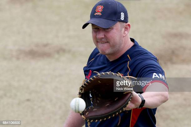 Anthony McGrath of Essex warms up prior to the Royal London OneDay Cup between Kent and Essex at the Spitfire Ground on May 17 2017 in Canterbury...