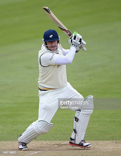 Anthony McGrath of Yorkshire bats during day two of the LV County Championship division two match between Yorkshire and Leicestershire at North...