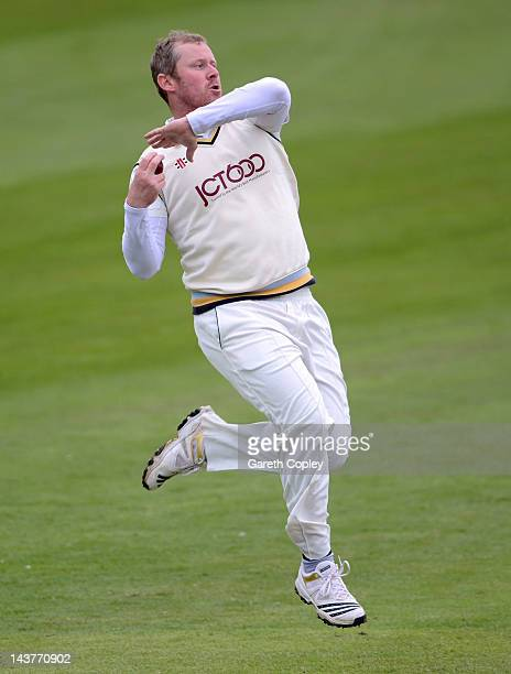 Anthony McGrath of Yorkshire bowls during day two of the LV County Championship division two match between Yorkshire and Leicestershire at North...