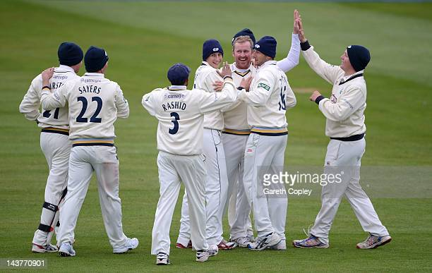 Anthony McGrath of Yorkshire celebrates with teammates after dismissing Josh Cobb of Leicestershire during day two of the LV County Championship...