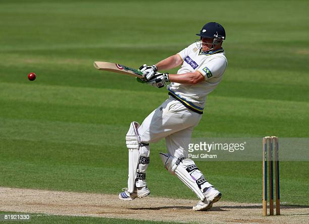 Anthony McGrath of Yorkshire hits out during day three of four of the Liverpool Victoria Division One match between Kent and Yorkshire at St Lawrence...