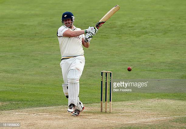 Anthony McGrath of Yorkshire hits out during day three of the LV County Championship Division Two match between Essex and Yorkshire at the Ford...
