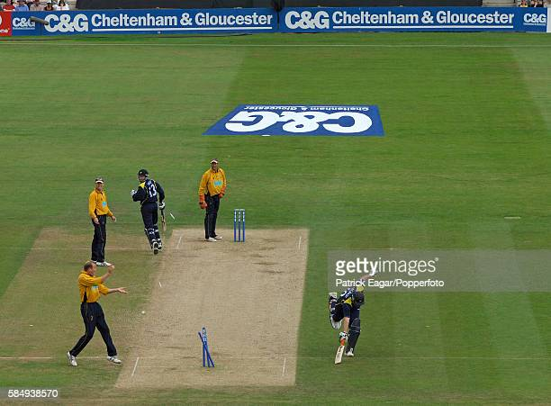 Anthony McGrath of Yorkshire is run out by a direct hit from Shane Watson of Hampshire during the Cheltenham Gloucester Trophy Semi Final between...