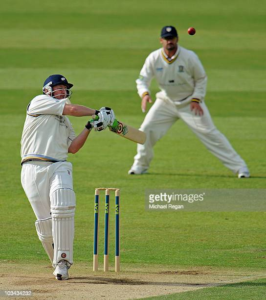 Anthony McGrath of Yorkshire plays a shot during day 3 of the LV County Championship Division One match between Durham and Yorkshire at The Riverside...