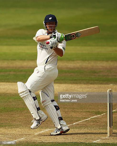 Anthony McGrath of Yorkshirepulls the ball towards the boundary during the LV County Championship match between Lancashire and Yorkshire at Old...