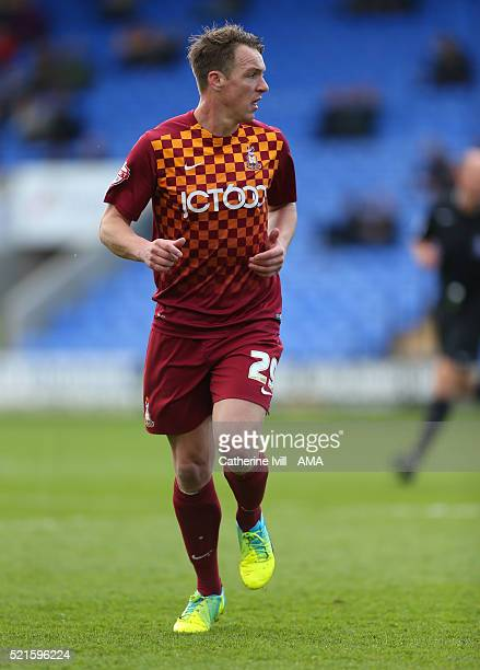 Anthony McMahon of Bradford City during the Sky Bet League One match between Shrewsbury Town and Bradford City at New Meadow on April 16 2016 in...