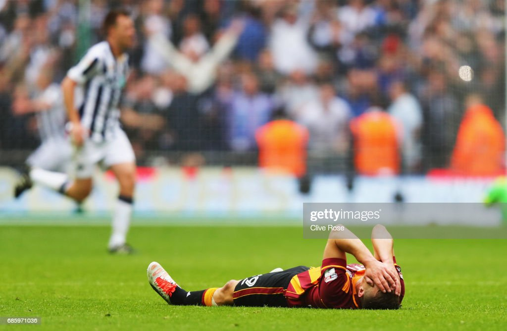 Anthony McMahon of Bradford City looks dejected in defeat after the Sky Bet League One Playoff Final between Bradford City and Millwall at Wembley Stadium on May 20, 2017 in London, England.