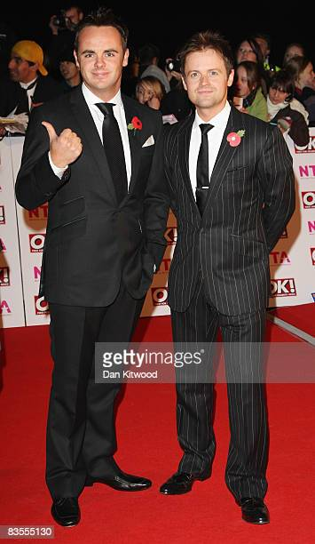 Anthony McPartlin aka Ant and Declan Donnelly aka Dec of Ant Dec arrive at the 2008 National Television Awards at The Royal Albert Hall on October 29...