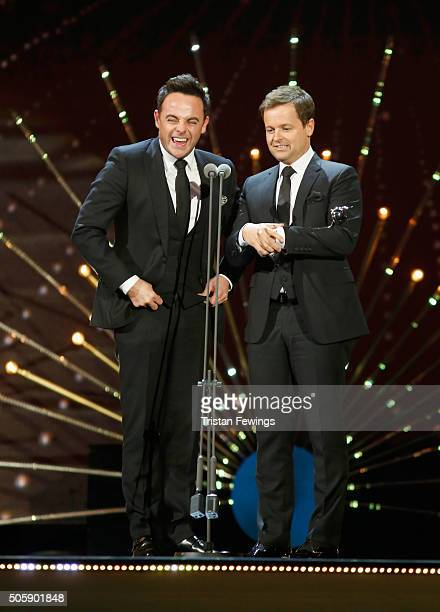 Anthony McPartlin and Declan Donnelly accept their award for Best TV Presenter at the 21st National Television Awards at The O2 Arena on January 20...
