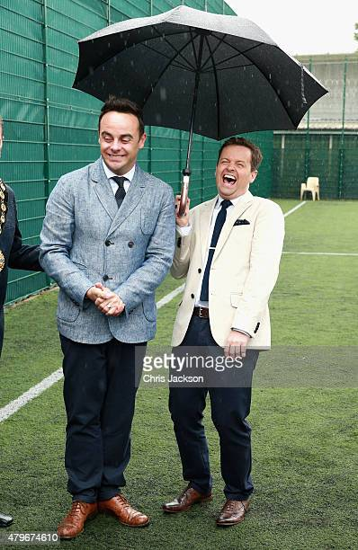 Anthony McPartlin and Declan Donnelly after meeting young offenders taking part in a 'Get Started with Football' programme run by the Prince's Trust...