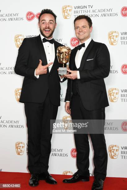 Anthony McPartlin and Declan Donnelly aka Ant and Dec accepting the Live Event award for The Queens 90th Birthday Celebration pose in the Winner's...