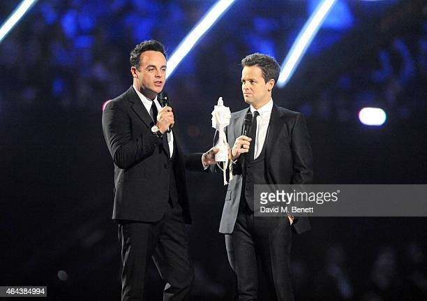 Anthony McPartlin and Declan Donnelly aka Ant Dec present at the BRIT Awards 2015 at The O2 Arena on February 25 2015 in London England