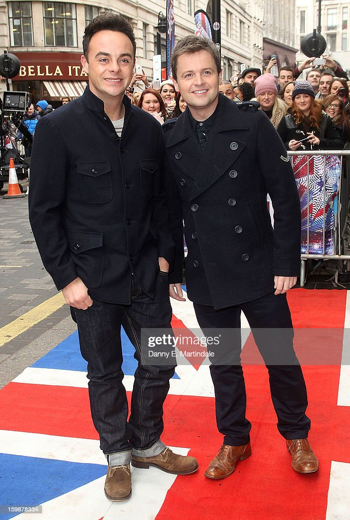 Anthony McPartlin and Declan Donnelly arrive for auditions for Britain's Got Talent at London Palladium on January 22, 2013 in London, England.