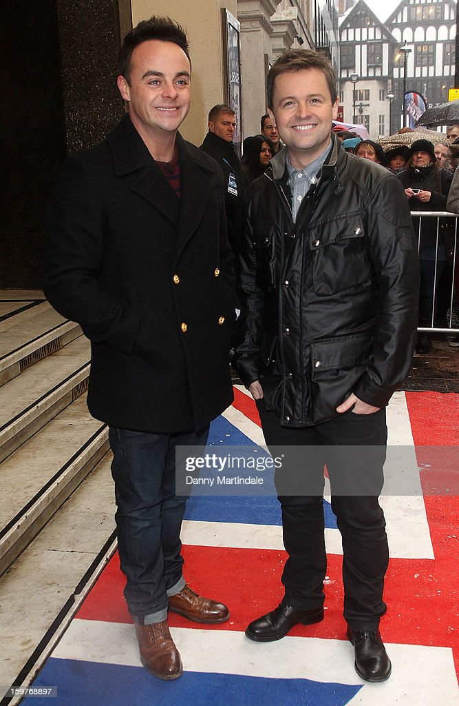 Anthony McPartlin and Declan Donnelly arrive for the London judges auditions for 'Britain's Got Talent' at London Palladium on January 20, 2013 in London, England.