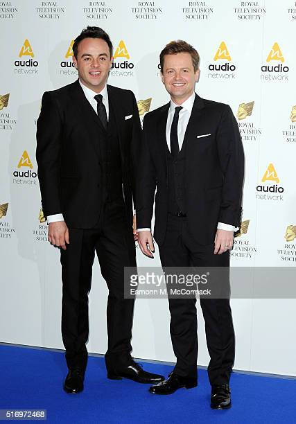 Anthony McPartlin and Declan Donnelly arrive for The Royal Television Society Programme Awards at The Grosvenor House Hotel on March 22 2016 in...