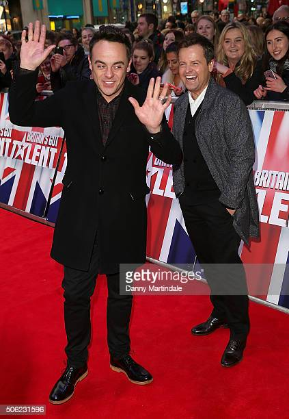 Anthony McPartlin and Declan Donnelly arrives for Britain's Got Talent Auditions on January 22 2016 in London England