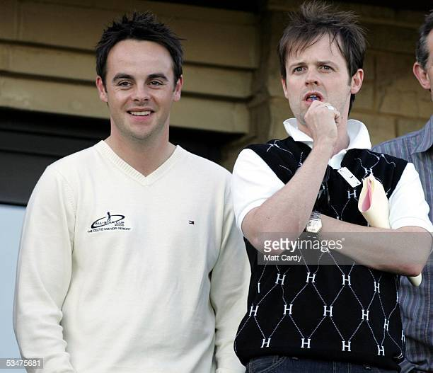 Anthony McPartlin and Declan Donnelly at The AllStar Cup Celebrity Golf tournament at the Celtic Manor Resort on August 28 2005 Newport Wales The cup...