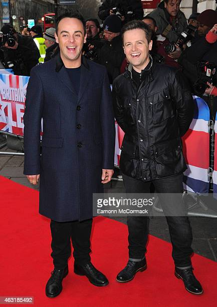Anthony McPartlin and Declan Donnelly attend the London auditions for Britain's Got Talent at Dominion Theatre on February 11 2015 in London England