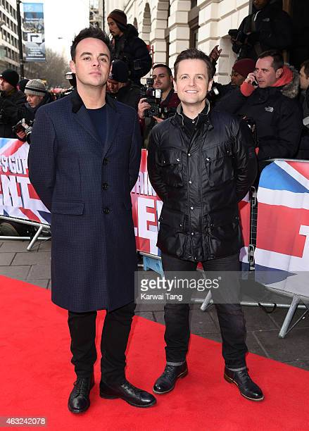Anthony McPartlin and Declan Donnelly attend the London auditions for Britain's Got Talent at Dominion Theatre on February 11, 2015 in London,...