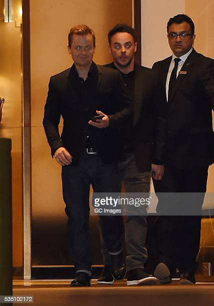 Anthony McPartlin and Declan Donnelly leave The Grosvenor House Hotel in Mayfair on May 28 2016 in London England