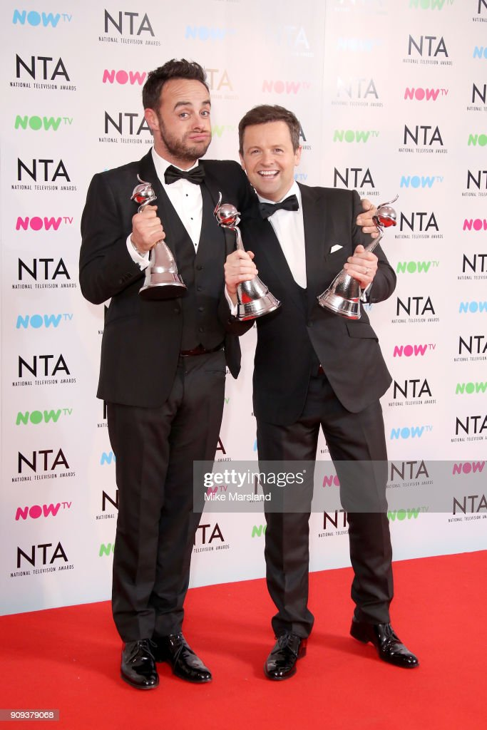 Anthony McPartlin and Declan Donnelly pose in the press room with the The Bruce Forsyth Entertainment Award and TV Presenter Award at the National Television Awards 2018 at The O2 Arena on January 23, 2018 in London, England.