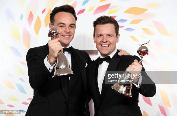 Anthony McPartlin and Declan Donnelly pose in the winners room after winning the best TV Presenters during the National Television Awards 2020 at The...