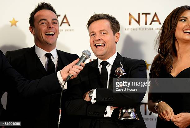 Anthony McPartlin and Declan Donnelly pose in the winners room at the National Television Awards at 02 Arena on January 21 2015 in London England