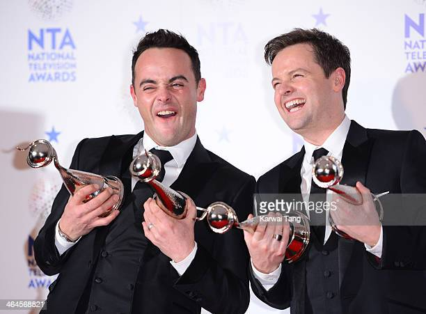 Anthony McPartlin and Declan Donnelly pose in the winners room at the National Television Awards at the 02 Arena on January 22 2014 in London England