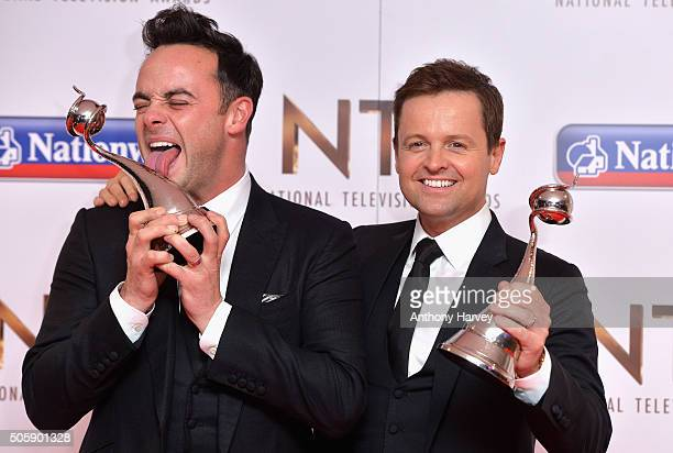 Anthony McPartlin and Declan Donnelly pose with their award for Best TV Presenter at the 21st National Television Awards at The O2 Arena on January...