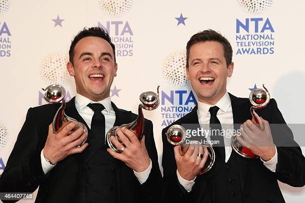 Anthony McPartlin and Declan Donnelly pose with their Landmark Award in front of the winners boards at the National Television Awards 2014 on January...