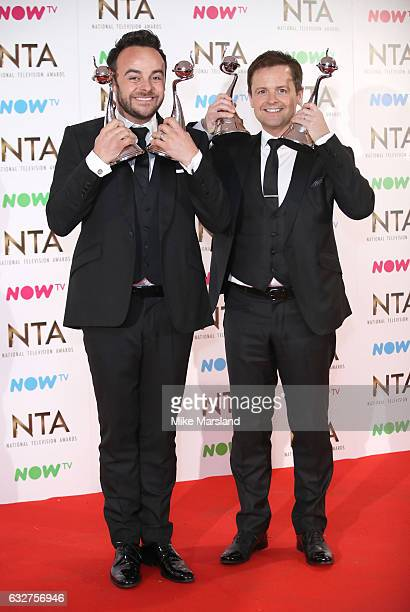 Anthony McPartlin and Declan Donnelly poses in the winners room at the National Television Awards at The O2 Arena on January 25 2017 in London England