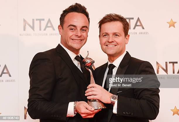 Anthony McPartlin and Declan Donnelly winners of the Entertainment Presenter award pose in the winners room at the National Television Awards at 02...