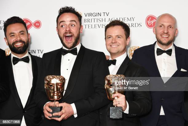 Anthony McPartlin and Declan Donnelly winners of the Entertainment Programme award for 'Ant and Dec's Saturday Night Takeaway' pose with cast and...