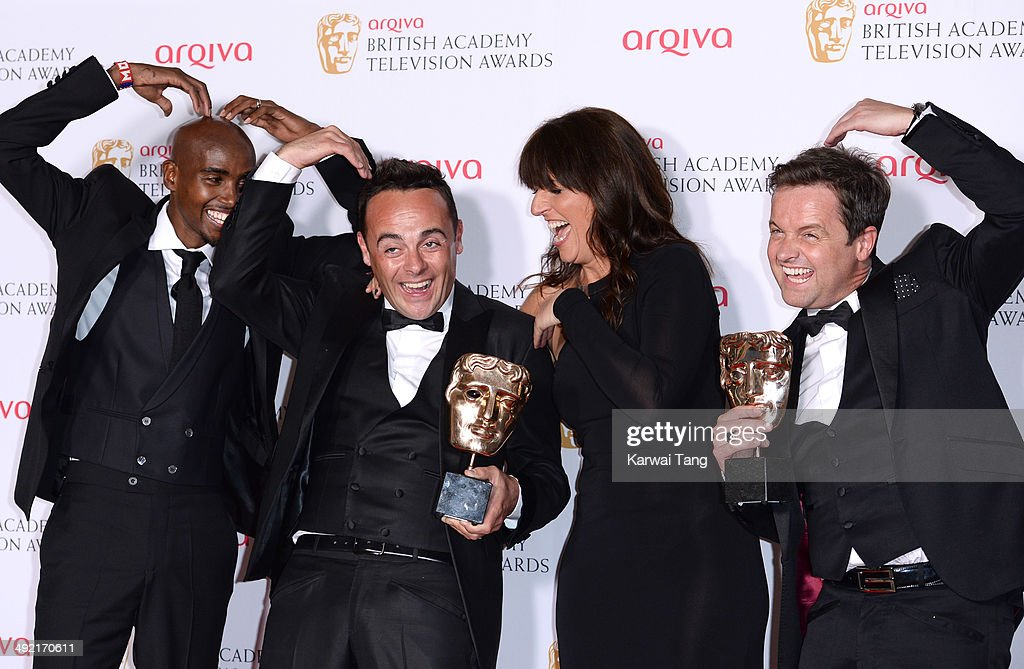 Anthony McPartlin and Declan Donnelly with the Entertainment Performance Award for 'Ant and Dec's Saturday Night Takeaway', alongside presenters Mo Farah (far left) and Davina McCall (2nd Right), at the Arqiva British Academy Television Awards held at the Theatre Royal on May 18, 2014 in London, England.