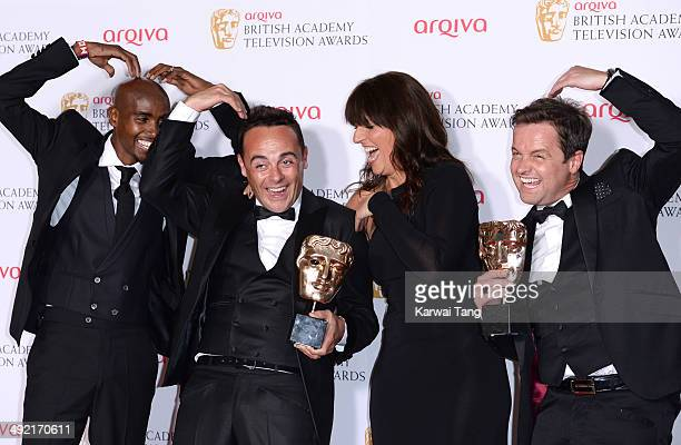 Anthony McPartlin and Declan Donnelly with the Entertainment Performance Award for 'Ant and Dec's Saturday Night Takeaway' alongside presenters Mo...