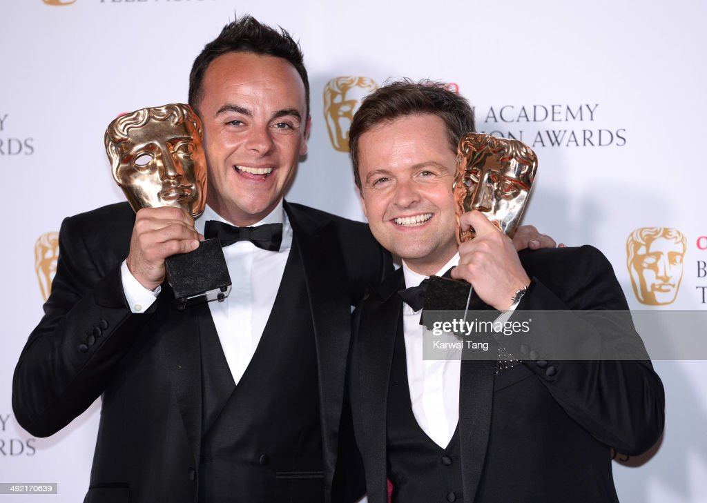 Anthony McPartlin and Declan Donnelly with the Entertainment Performance Award for Ant and Dec's Saturday Night Takeaway, at the Arqiva British Academy Television Awards held at the Theatre Royal on May 18, 2014 in London, England.
