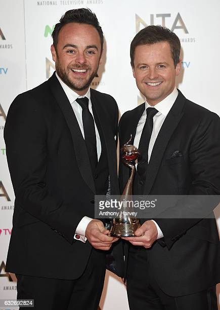 Anthony McPartlin and Declan Donnelly with their award for Best Entertainment Programme for Ant and Dec's Saturday Night Takeaway during the National...